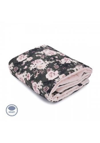 Zamatová deka na leto pre deti - nočné kvety/svetlo ružová
