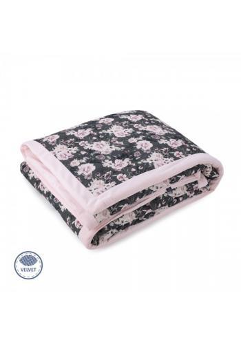 Zamatová teplá deka - nočné kvety/svetlo ružová