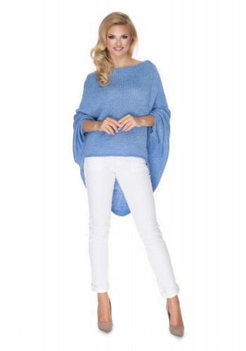 Svetlo modrý oversize sveter v štýle pončo pre dámy