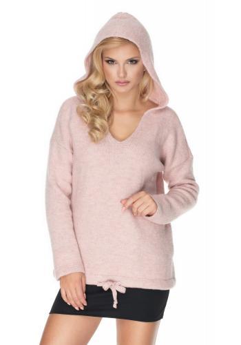 Dámsky mäkký sveter s kapucňou vo svetlo ružovej farbe s výstrihom