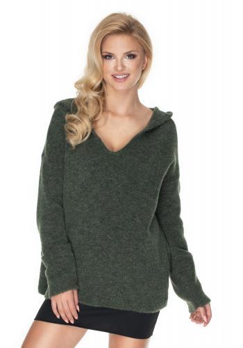 Kaki mäkký sveter s kapucňou pre dámy s výstrihom