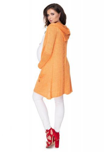 Pomarančový kardigán s kapucňou a vrkočom na chrbte pre dámy