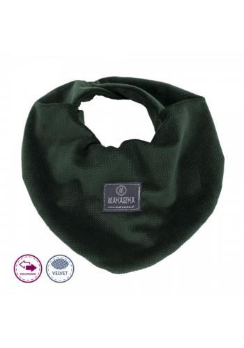 Tmavo zelený obojstranný zamatový šál na suchý zips