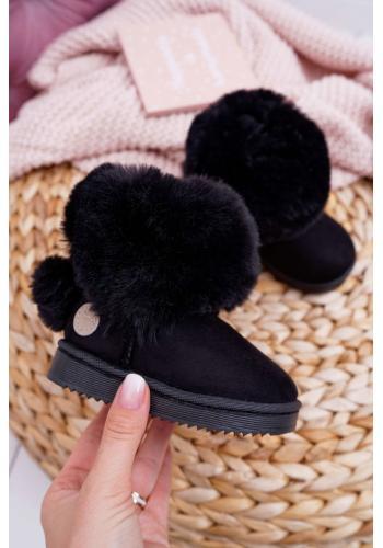 Dievčenské semišové snehule s kožušinou v čiernej farbe