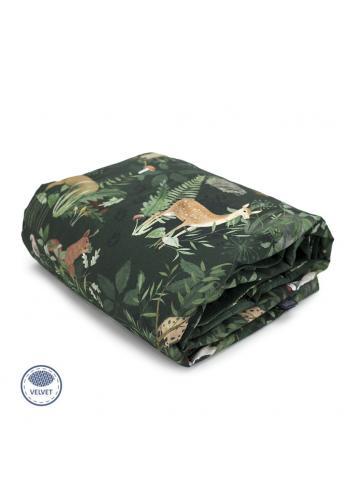 Zamatová deka na leto pre deti - zvieratá/tmavo zelená