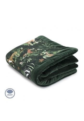 Teplá zamatová deka pre deti - zvieratá/tmavo zelená