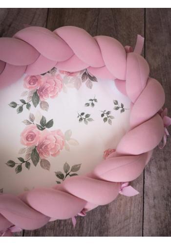 Uzlíkový detský kokon PREMIUM 2 v 1 - tmavo ružová/zázračný kvet