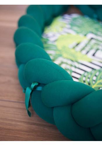 Zapletený detský kokon 2 v 1 - tmavo zelený/zelené listy