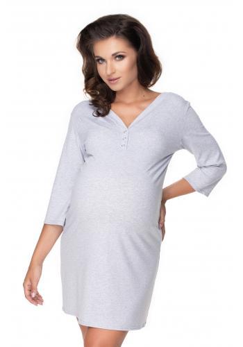 Tehotenská a dojčiaca nočná košeľa na kŕmenie s gombíky na hrudi a 3/4 rukávmi vo svetlo sivej farbe