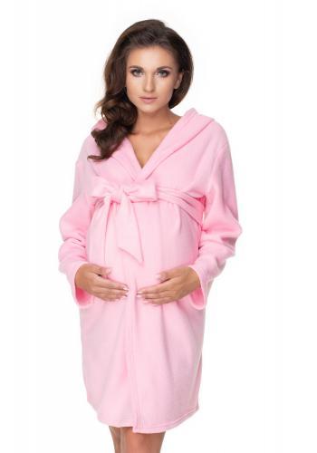 Tehotenský župan vo svetlo ružovej farbe s kapucňou