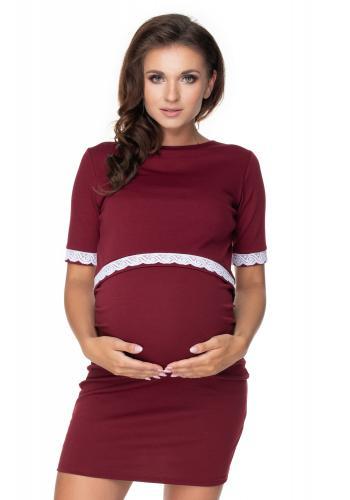 Tehotenské a dojčiace šaty s kŕmnym panelom v bordovej farbe a ozdobnou čipkou