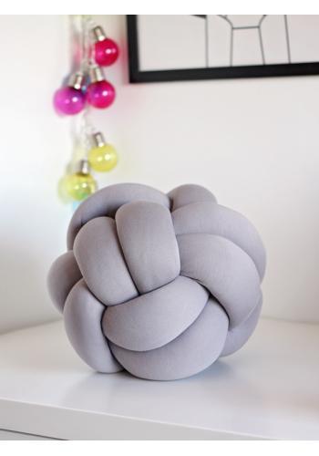 Ozdobný vankúš uzlík v sivej farbe