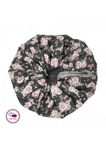 Podložka na hranie v čiernej farbe s potlačou nočných kvetov - obojstanná
