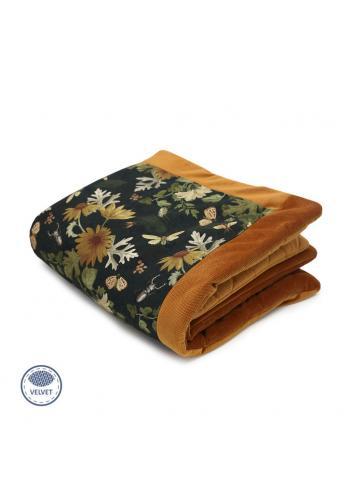 Teplá zamatová deka pre deti - príroda/horčicová