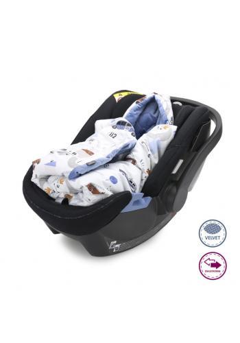 Detská teplá prikrývka so zamatom - autá/svetlo modrá
