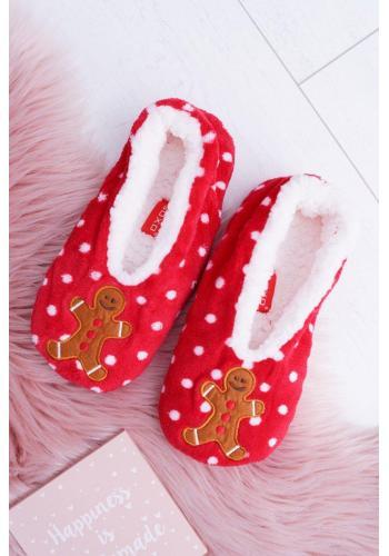 Červené vianočné papuče s perníkom pre dámy
