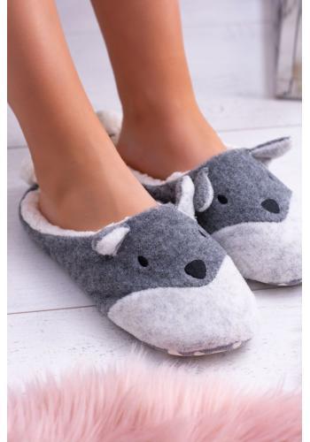 Sivé zvieracie papuče s ušami pre dámy