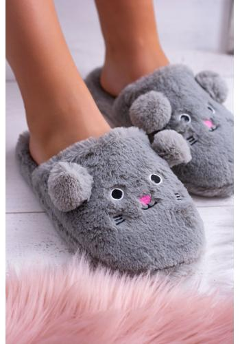 Sivé myšacie papuče s ušami pre dámy