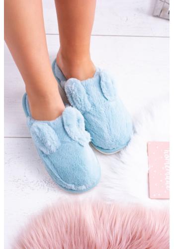 Dámske papuče s králičími ušami v svetlomodrej farbe