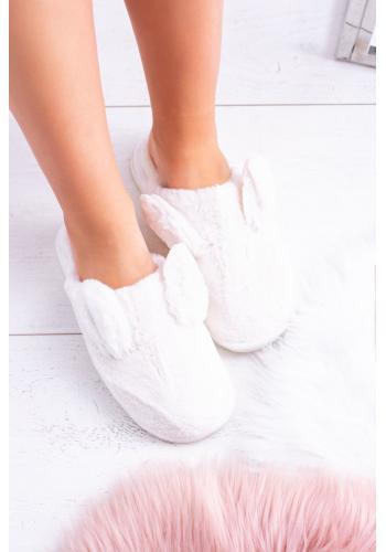 Papuče bielej farby pre dámy s králičími ušami