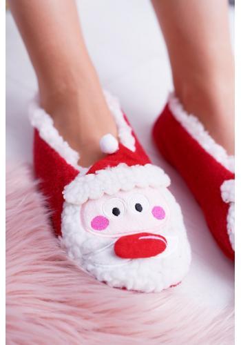 Červené vianočné papuče so Santa Clausom pre dámy