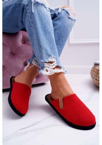 Červené filcové papuče Big Star pre dámy