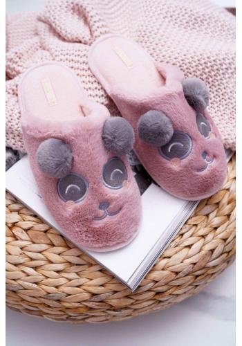 Dámske kožušinové papuče s pandou v tmavoružovej farbe