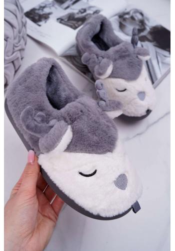 Dámske kožušinové papuče so sobmi v sivej farbe