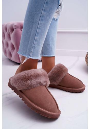 Hnedé teplé papuče s kožušinou pre dámy