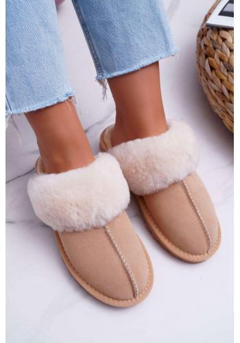Dámske teplé papuče s kožušinou v béžovej farbe