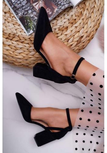 Semišové dámske lodičky čiernej farby na širokom podpätku