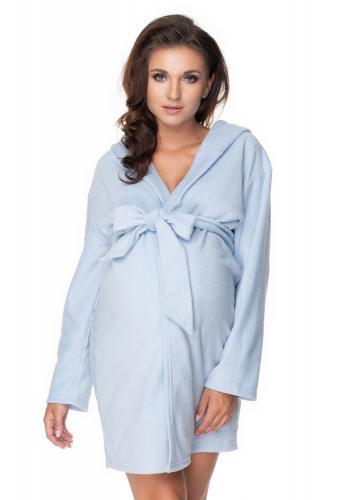 Župan pre tehotné mamičky v modrej farbe s kapucňou a viazaním