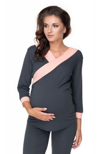 Tehotenské a dojčiace pyžamo s 3/4 nohavicami s brušným panelom a tričkom s 3/4 rukávom s výstrihom - tmavosivé/ružové