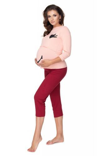 Materské pyžamo s legínami so zvýšeným pásom a kŕmnym panelom so srdiečkovými očami a úsmevom