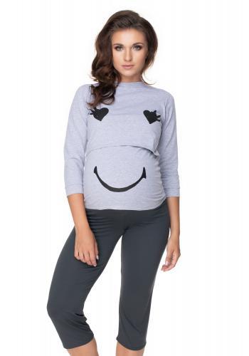 Tehotenské pyžamo s legínami so zvýšeným pásom a kŕmnym panelom v šedej farbe- veselá tvár
