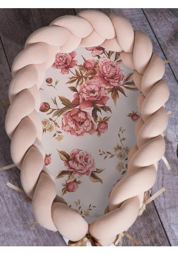 Uzlíkový detský kokon PREMIUM 2 v 1 - béžový/kvety