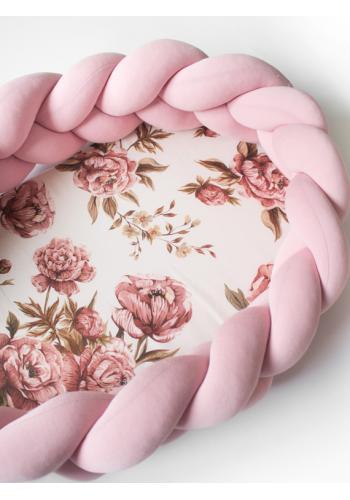 Pletený detský kokon PREMIUM 2 v 1 - ružový/kvety