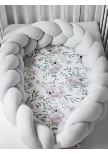 Uzlíkový detský kokon PREMIUM 2 v 1 - svetlo sivý/koaly
