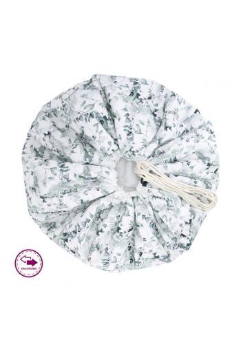 Podložka na hranie v bielej farbe s potlačou šalvie zelenej - obojstanná