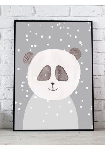 Šedý dekorační plakát se zimním motivem pandy
