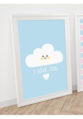 Modrý plakát na stěnu s oblakem a nápisem I love you