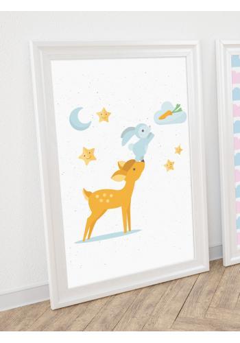 Roztomilý dětský plakát s lesními zvířátky