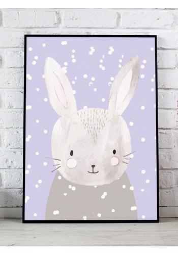 Dětský dekorační plakát se zimním motivem králíka