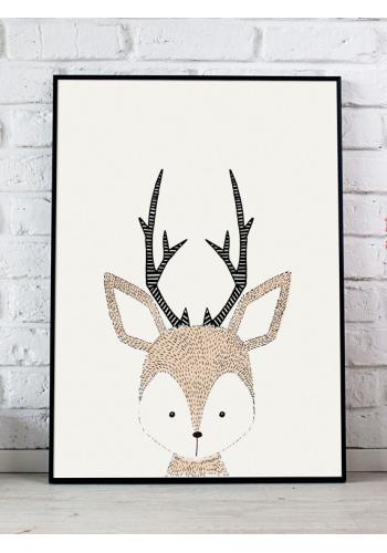 Bílý plakát do pokoje s obrázkem jelena