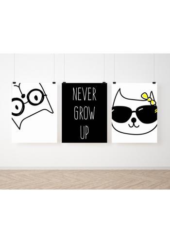 Černo bílá sada plakátů na zeď s kočičkami