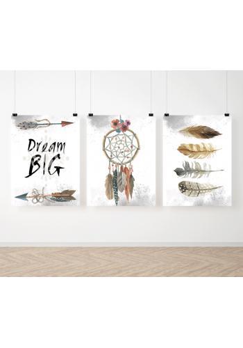 Sestava dekoračních plakátů v BOHO stylu