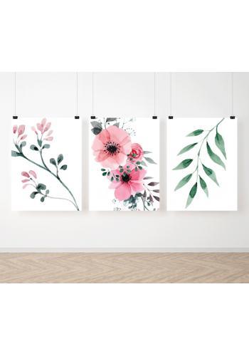 Sestava květinových dekoračních plakátů na stěnu