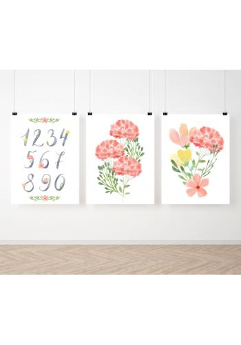 Závěsná sada malovaných plakátů s květinami a čísly