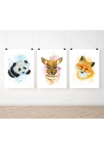 Akvarelové sada závěsných plakátů s lesními zvířátky