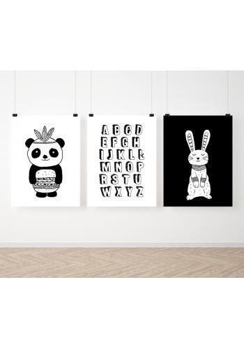 Bíločerná sada plakátů s abecedou a zvířátky
